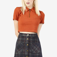 Plaid Button Down Corduroy A-Line Skirt
