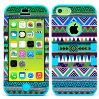 For Apple iPhone 5C New Light TopOnDeal TM Blue Aztec Vintage Tribal Design 3PC Design Hybrid Hard and Soft Case Cover+Stylus Touch Pen (ONLY For APPLE IPHONE 5C) (Blue Aztec Vintage Tribal Design)