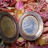 I am enough..   rustic engraved Quote locket Sale was 30 now 26.00