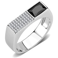 Mens Stainless Steel Rings DA252 Stainless Steel Ring with CZ