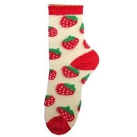 Hollywood Mirror   SEE THROUGH CREW SOCK STRAWBERRY - SOCKS - ACCESSORIES