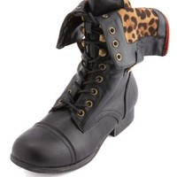 Leopard-Lined Zip Combat Boot by Charlotte Russe - Black