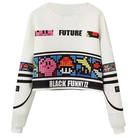 Black Funny Print Cuff Sleeve Pullover Cropped Top