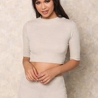 Oatmeal Thermal Crew Neck Crop Top