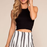 Tomas Black And White High waisted Striped Shorts