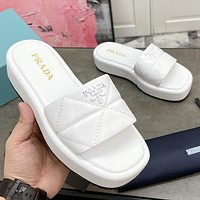 PRADA new product letter logo ladies platform casual sandals beach shoes slippers