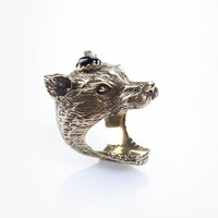Wolf Clan Ring - Brass and Onyx   Spell & the Gypsy Collective