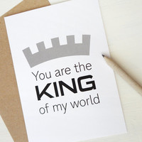 Father's Day card You are the king of my world card for Dad for him minimalist typography