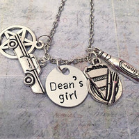 Dean's Girl Necklace - Dean Winchester Necklace - Supernatural Jewelry - Team Free Will Jewelry - Fandom Jewelry