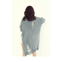 Gray Vintage Ripped Knit Sweater