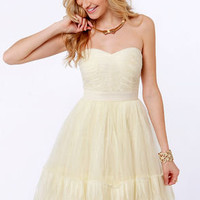 Odette's Vignette Strapless Cream Dress