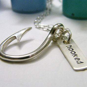 hooked fish hook sterling silver necklace with hand stamped tag unisex