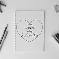 Notebook A5 A4 Simple Journal Diary Planner Sketchbook Gift graph lines blank spiral reasons I love you
