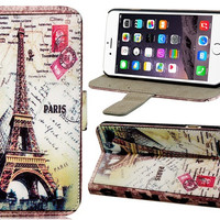 """Retro Style Eiffel Tower Pattern Faux Leather Flip Case with Mount Stand & Credit Card Slots for 4.7"""" iPhone 6"""