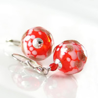 Red Earrings Sterling Silver Hand Blown Glass by DorotaJewelry