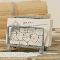 Chicken Wire Business Card Holder - Barn Roof
