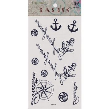 """MagicPieces Temporary Tattoo Fake Tattoo Waterproof Non-toxic Tattoo Sticker with Dark Blue Anchor, Helm and Some English Word Pattern Size 3.06""""X5.13"""" HM534"""