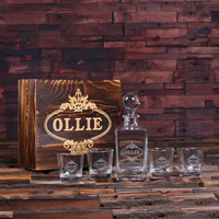 Personalized Whiskey Decanter with Global Bottle Lid 4 Whiskey Glasses and Wood Box – B