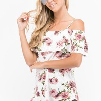 Floral Open Shoulder Top with Ruffle - Ivory