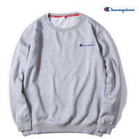 Champion Embroidery round collar sweater thickening sweater Grey