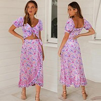 Bohemian floral short-sleeved bow top + irregular skirt suit skirt purple