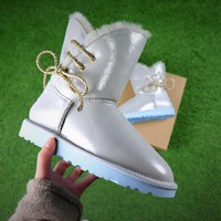Sale UGG Waterproof Antifouling Fabric Butterfly Lace Silver Snow Boots