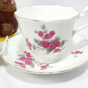 Vintage Radfords Bone China Teacup and Saucer/Made in England Bone China Cup and Saucer/Pink Floral with Gold Trim Cup and Saucer