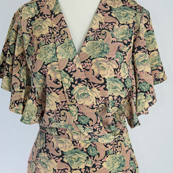 Vintage 80's Romantic Bombshell 30's Style Dress Butterfly Sleeves & Gathered Hip