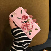 Embroidery Rose iPhone 7 7Plus & iPhone se 5s 6 6 Plus Case Cover +Gift Box