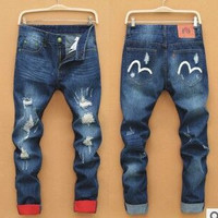 Men Ripped Holes Korean Pants Jeans [6528600963]