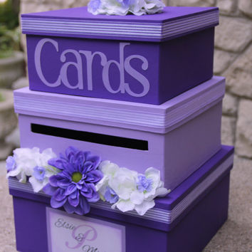 Custom Wedding Card Box, 3 Tier, Card Holder, Square, Purple and Lavender