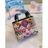 Dior High Quality Fashion Women Shopping Bag Leather Personality Print Tote Handbag 1#