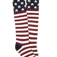 FOREVER 21 Stars & Stripes Crew Socks Burgundy/Navy One