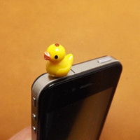 Cute Little Yellow Duck Duckling Anti Dust Plug 3.5mm Phone Accessories Charm Headphone Jack Earphone Cap for iPhone 4 4S 5 iPad HTC Samsung