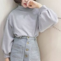 Balloon Sleeve Mock Neck Pullover
