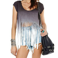 Gradient fringed T-shirt XQ63064