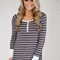 What About Us Striped & Lace Top