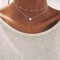 New Double Layer Silver Chain Love Heart Necklace For Women Beads Choker Pendant Necklace Chocker collier femme Kolye