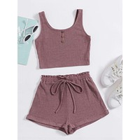 SHEIN Button Front Tank Top & Paperbag Waist Shorts Set