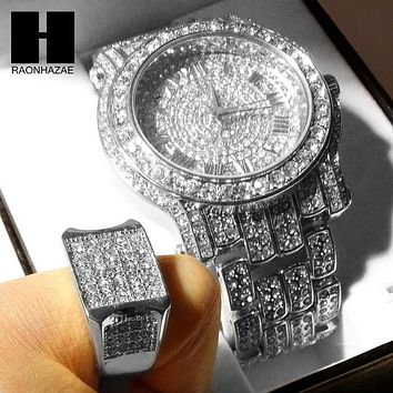 TECHNO PAVE WHITE GOLD FINISHED LAB DIAMOND WATCH and RING#2 SET TP12S