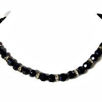 Black Glass Bead Necklace with Rhinestones Rondelles