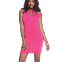 Bodycon Dress W-strappy Shoulder Details & Three Keyhole Chest Cutouts Pink Sm