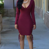 Long Sleeve Bandage Bodycon Dress 13202