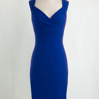Pinup Long Sleeveless Bodycon Lady Love Song Dress in Sapphire