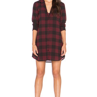 BB Dakota Cotter Plaid Shirt Dress in Wine