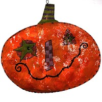 Peri Woltjer FOLK PUMPKIN DOOR HANGER Metal Halloween Decor 2020140025