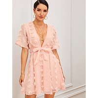 SHEIN Swiss Dot Plunge Neck Belted Dress