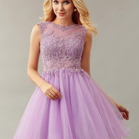 New Girls Lilac Short Ball Gown Sleeveless Lace Appliques Sheer Neck Tulle Cocktail Dresses Sexy Open Back Party Dresses