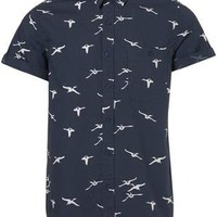Navy Flying Geese Print Short Sleeve Shirt - Sale - TOPMAN USA