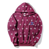 Champion Embroidered Long Sleeved Printed Hooded Sweater Coat